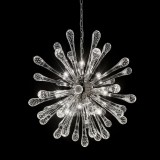 """Dione"" Murano glass chandelier - 9 lights - transparent and chrome"