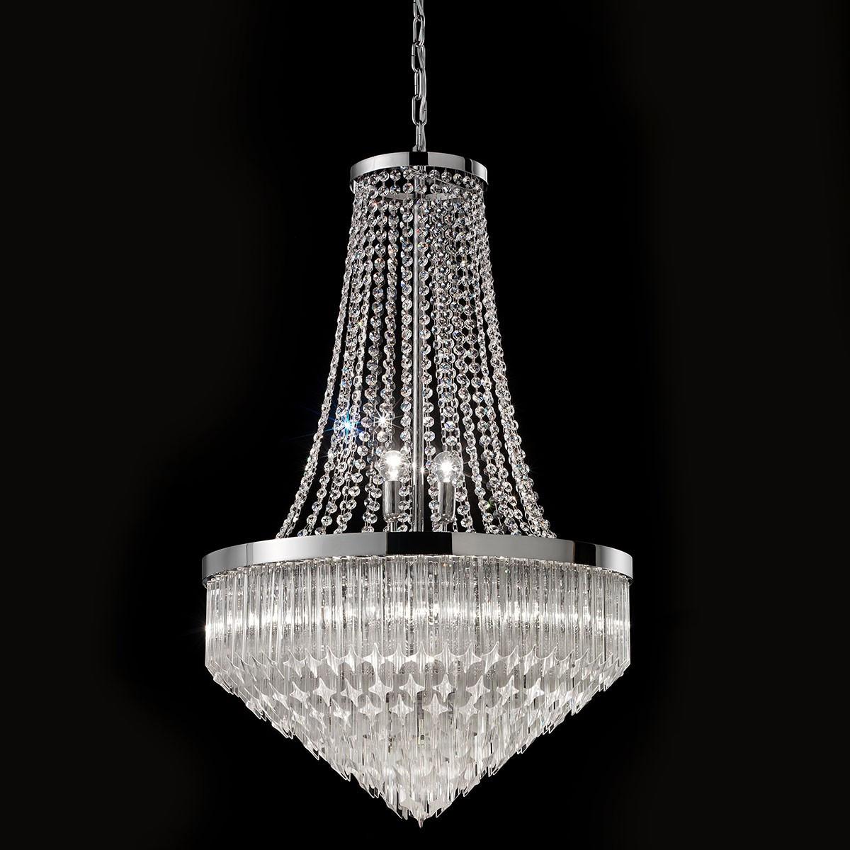 """""""Bella"""" lustre en cristal de Murano - 8 lumières - transparent et chrome"""