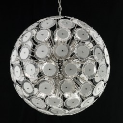 """Globo"" Murano glass chandelier - 12 lights - white and nickel"