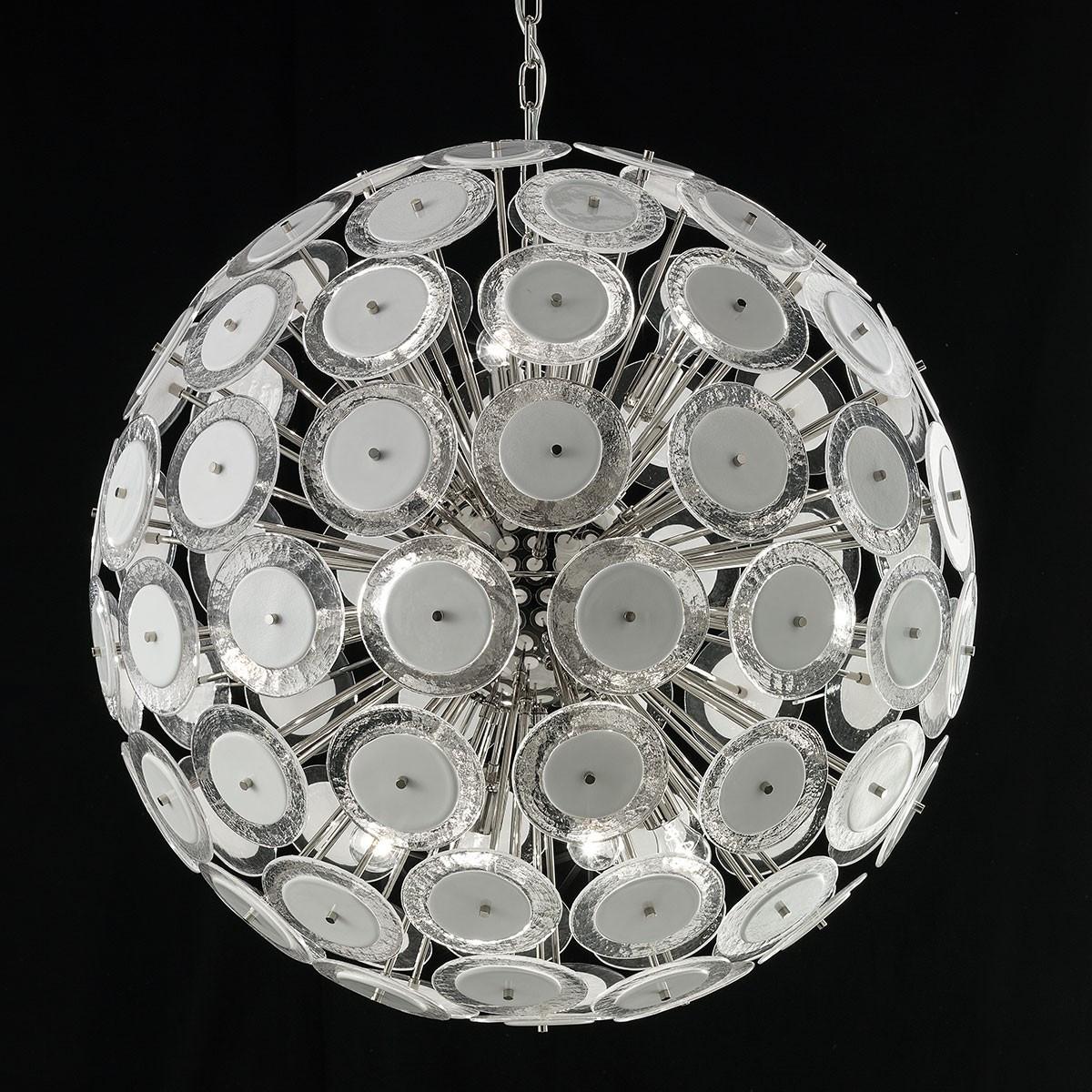 """""""Globo"""" lampara de araña de Murano - 12 luces - blanco y niquel"""