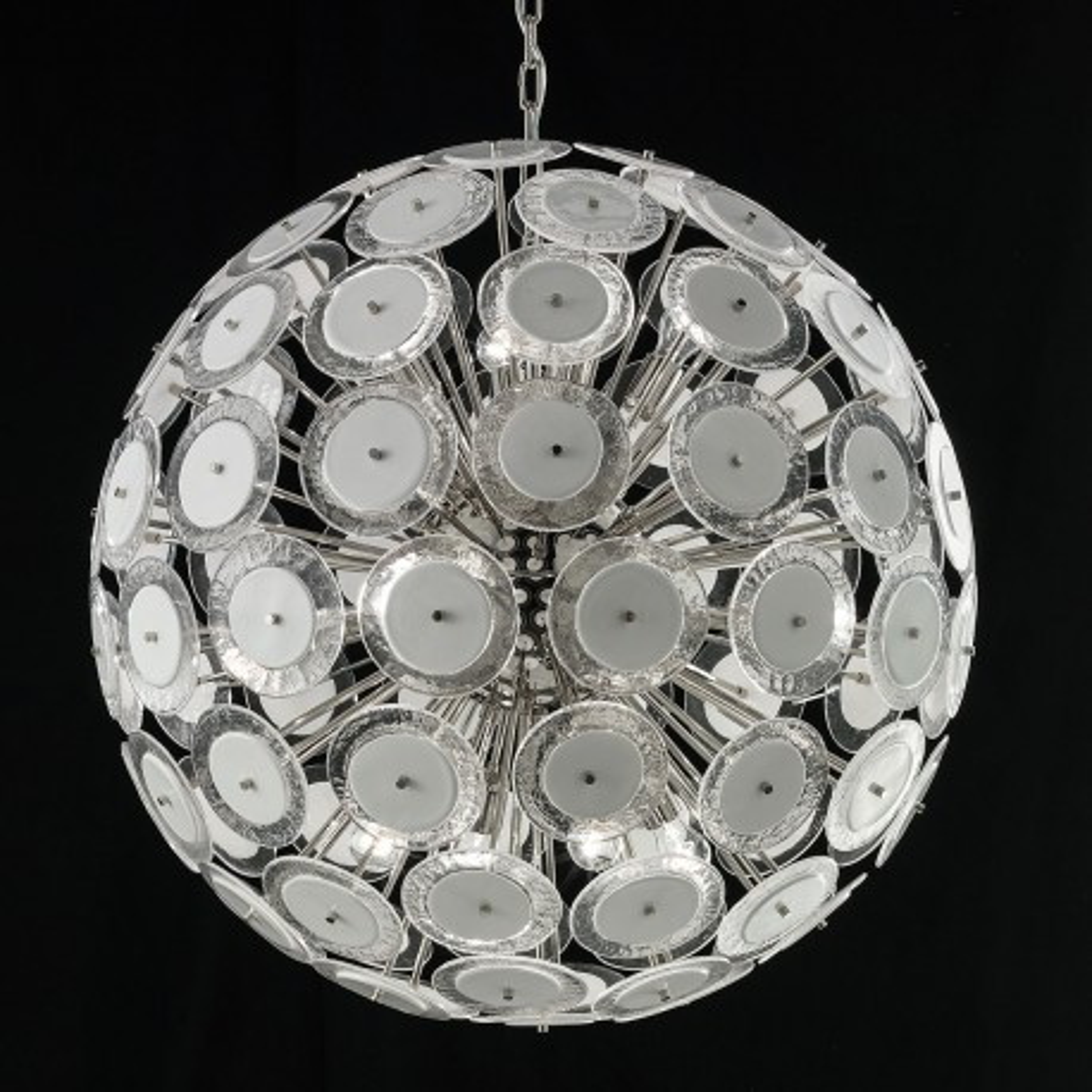 """Globo"" lustre en cristal de Murano - 12 lumières - blanc et nickel"