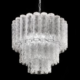 """Tronchi"" Murano glass chandelier - 7 lights - transparent and chrome"