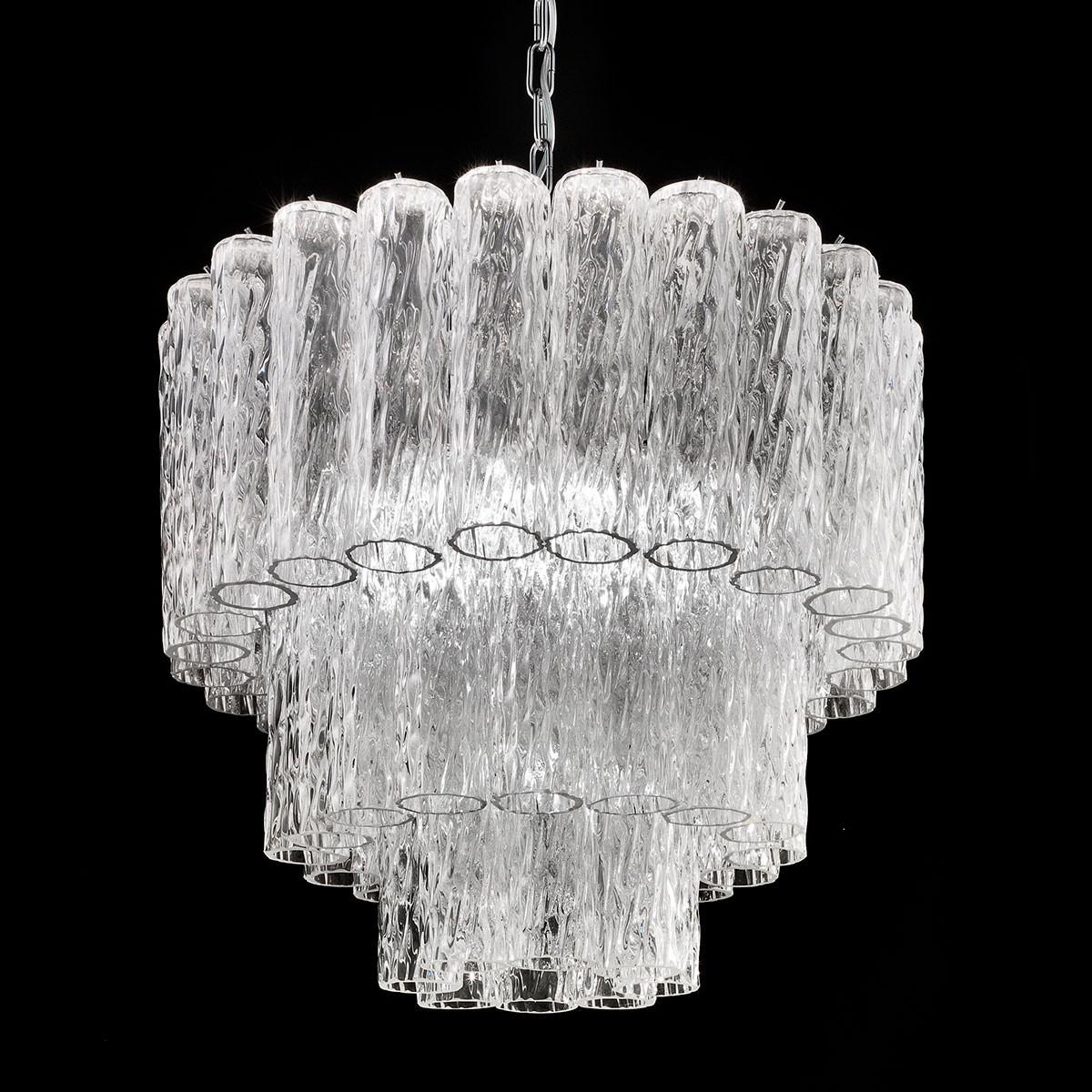 """Tronchi"" lampara de araña de Murano - 7 luces - trasparente y cromo"