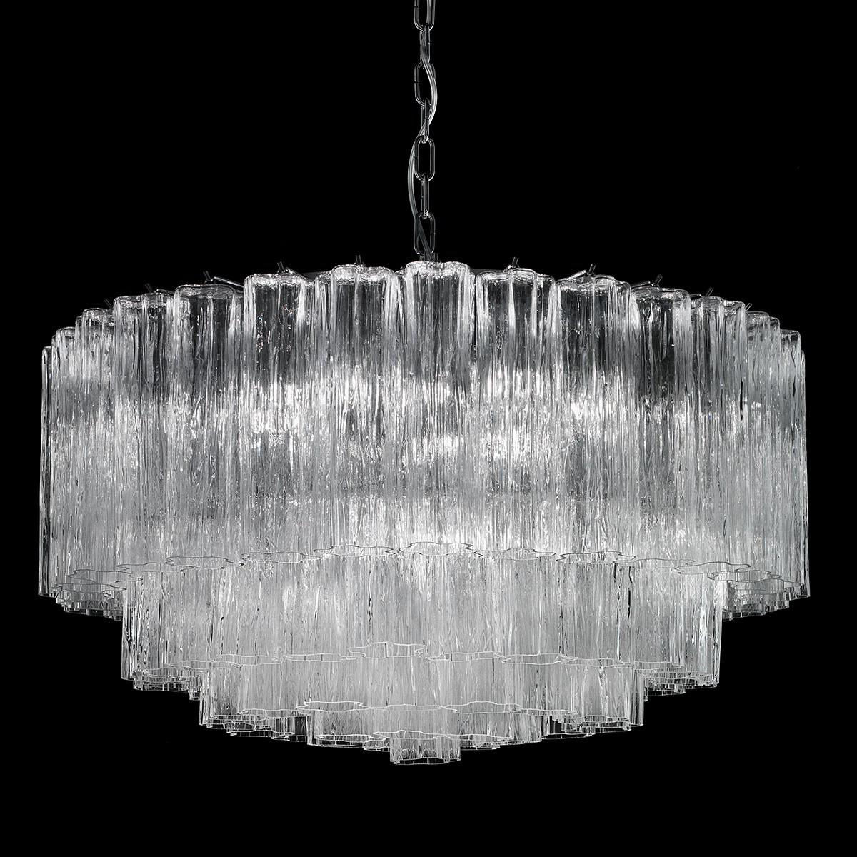 """""""Holly"""" lustre en cristal de Murano - 6 lumières - transparent et chrome"""