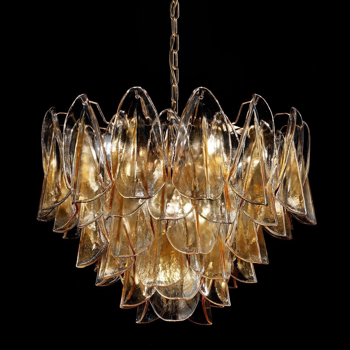 """""""Janet"""" lustre en cristal de Murano - 7 lumières - ambre et or"""