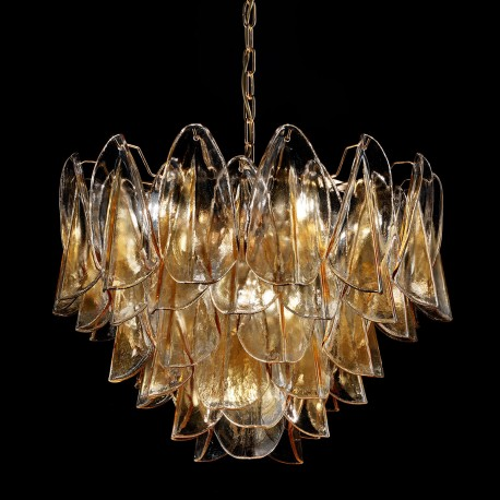 """Janet"" Murano glass chandelier - 7 lights - amber and gold"
