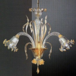 Mori 3 feux lustre Murano de couleur or transparent
