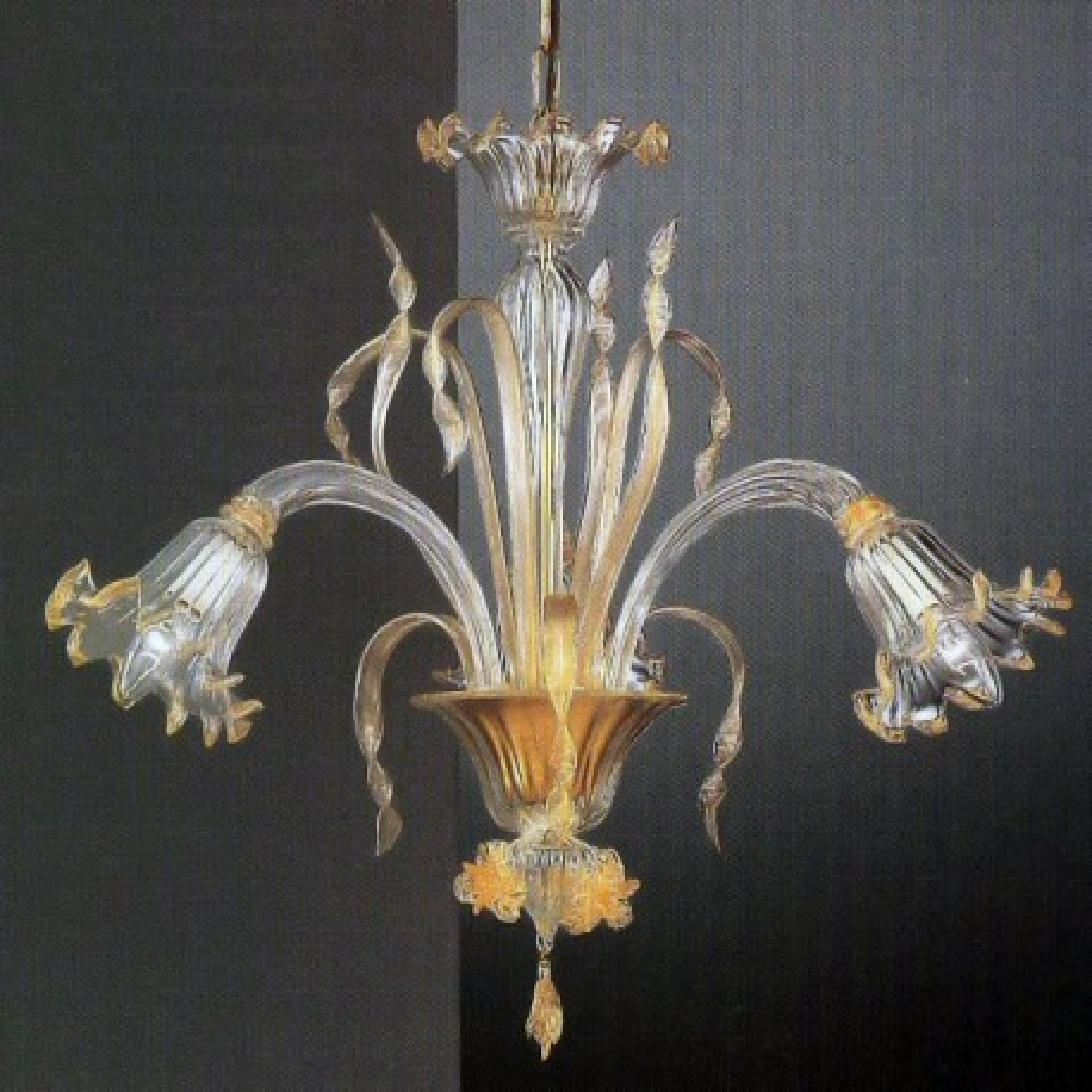 Mori 3 luces lampara de Murano - color transparente oro