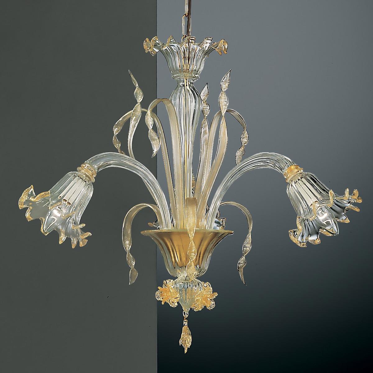 Mori 3 lights Murano chandelier - transparent gold color
