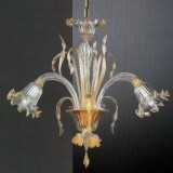 Mori 3 lights Murano chandelier - transparent gold color