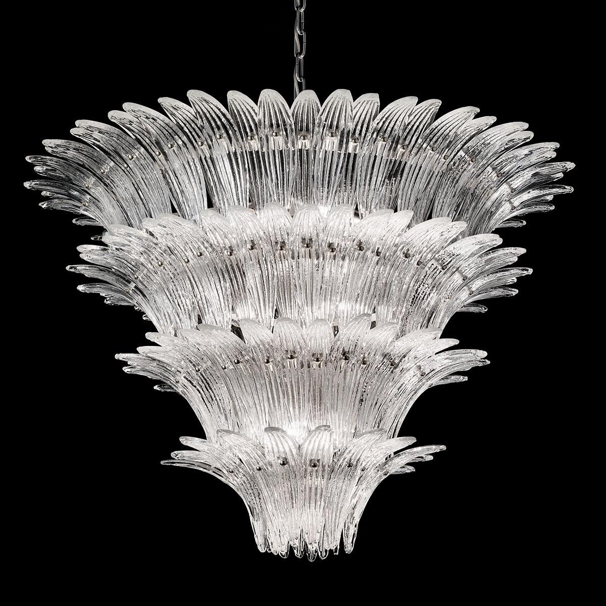"""""""Casablanca"""" lustre en cristal de Murano - 12 lumières - transparent et chrome"""