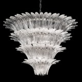 """Casablanca"" Murano glass chandelier - 12 lights - transparent and chrome"