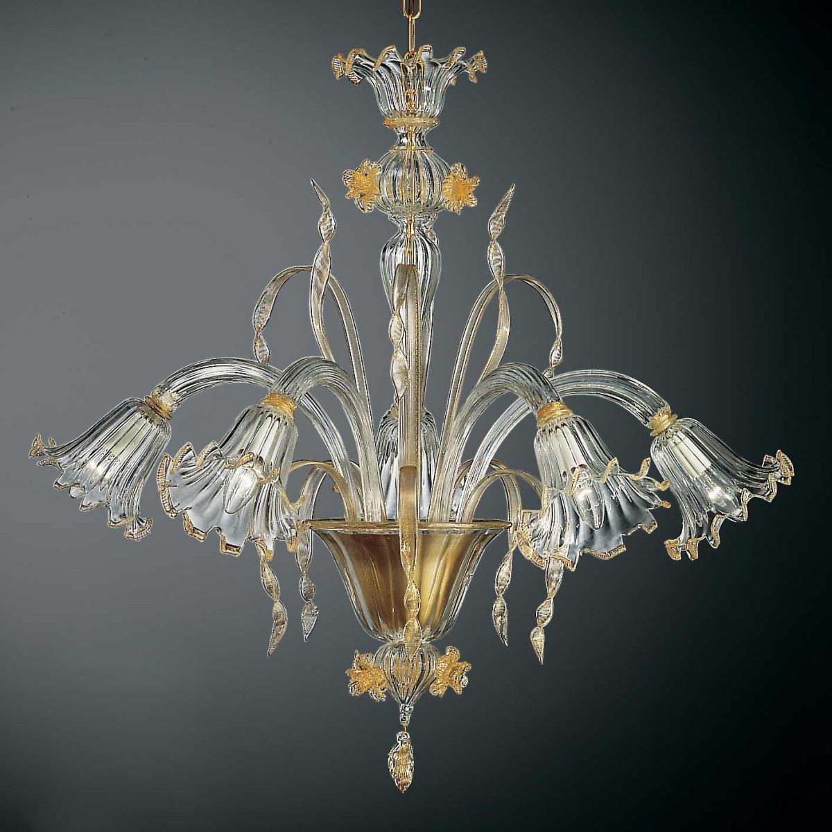 Mori 5 lumieres lustre Murano - couleur transparent or