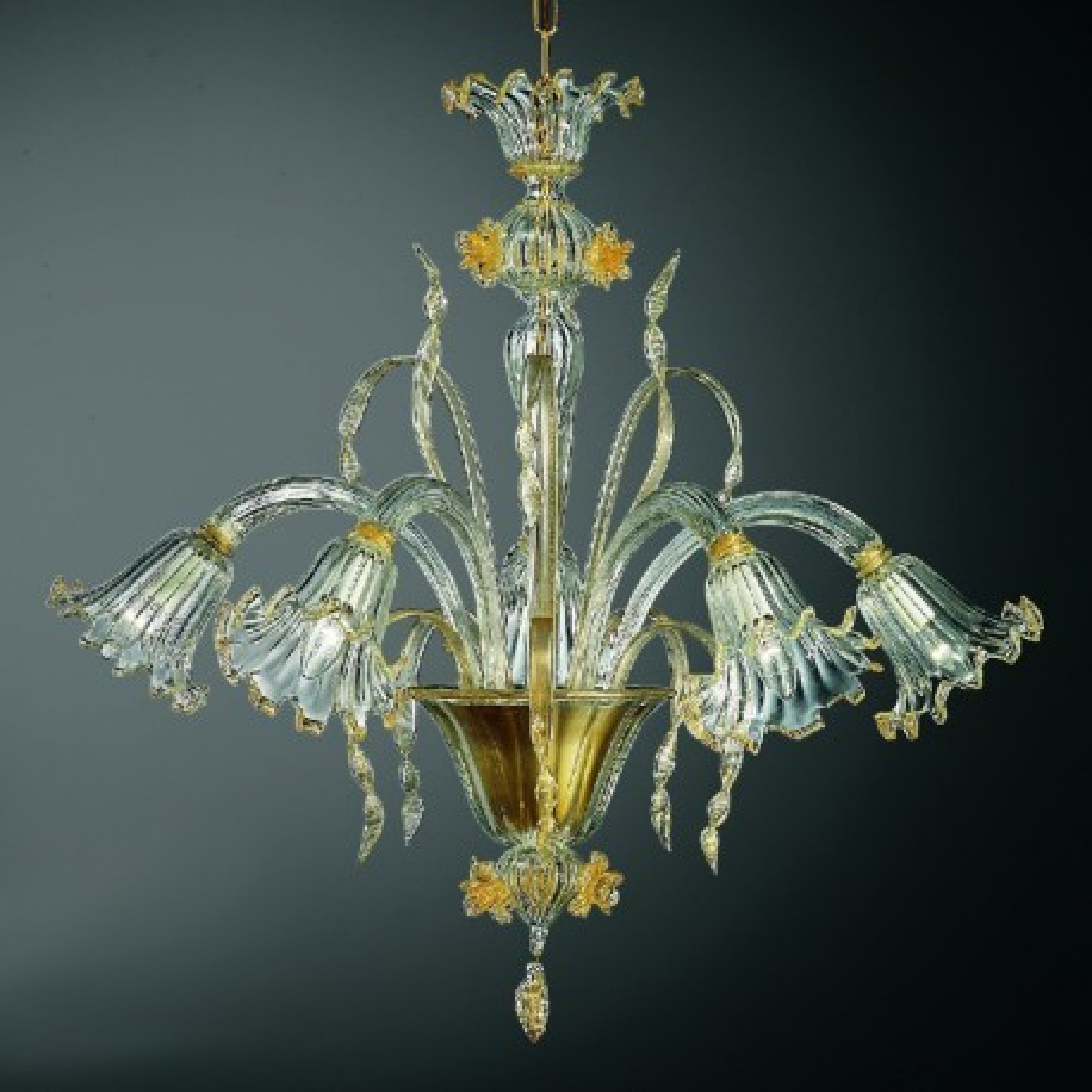 Mori 5 lights Murano chandelier - transparent gold color