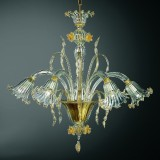 Mori 3 lumieres lustre Murano - couleur transparent or