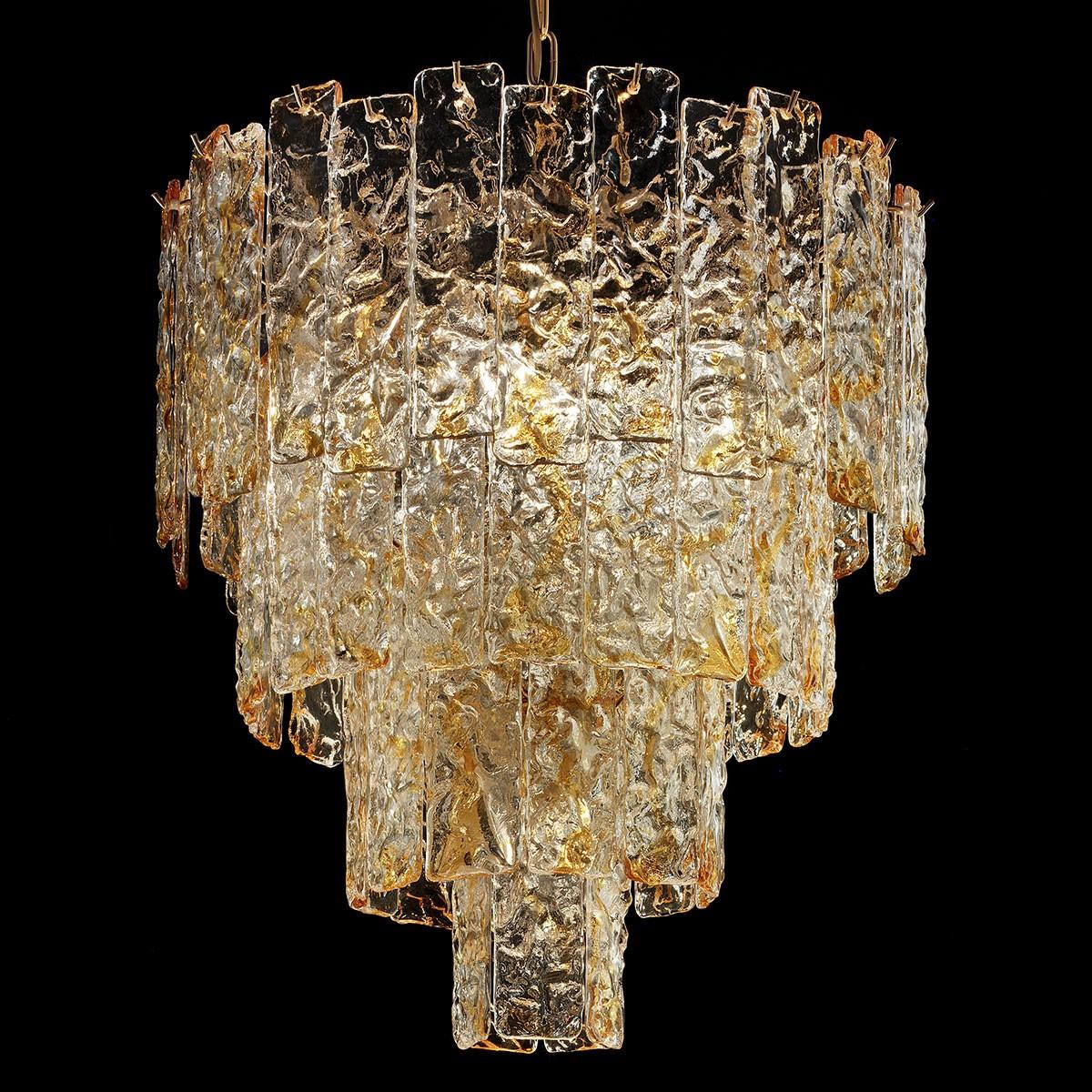 """""""Heather"""" lustre en cristal de Murano - 5 lumières - ambre et or"""
