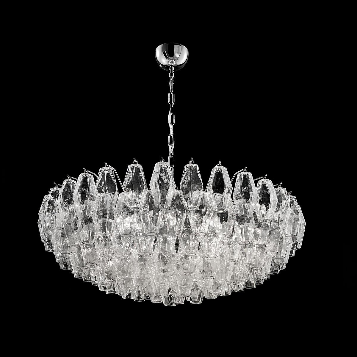 """""""Henrietta"""" lustre en cristal de Murano - 9 lumières - transparent et chrome"""