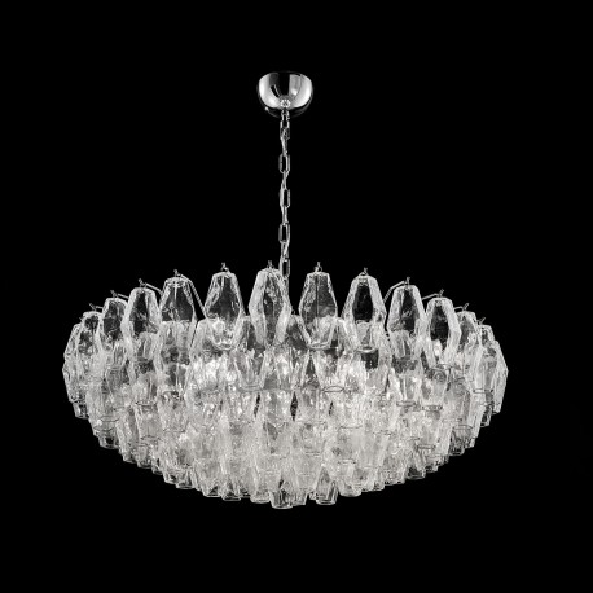 """Henrietta"" Murano glass chandelier - 9 lights - transparent and chrome"