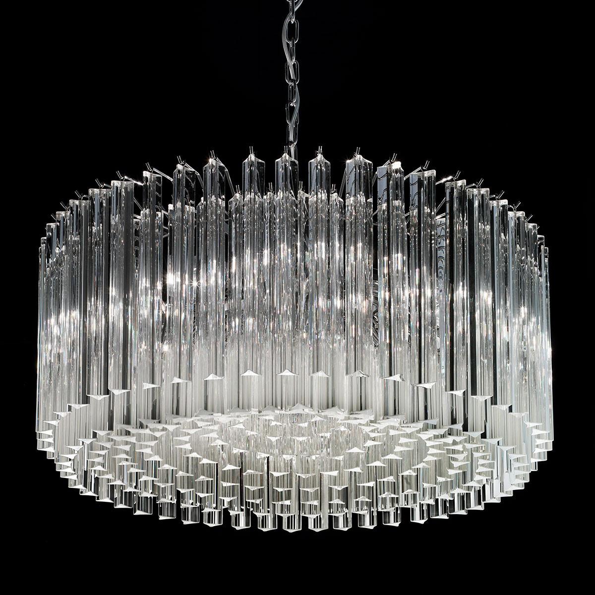 """""""Esmeralda"""" lustre en cristal de Murano - 8 lumières - transparent et chrome"""