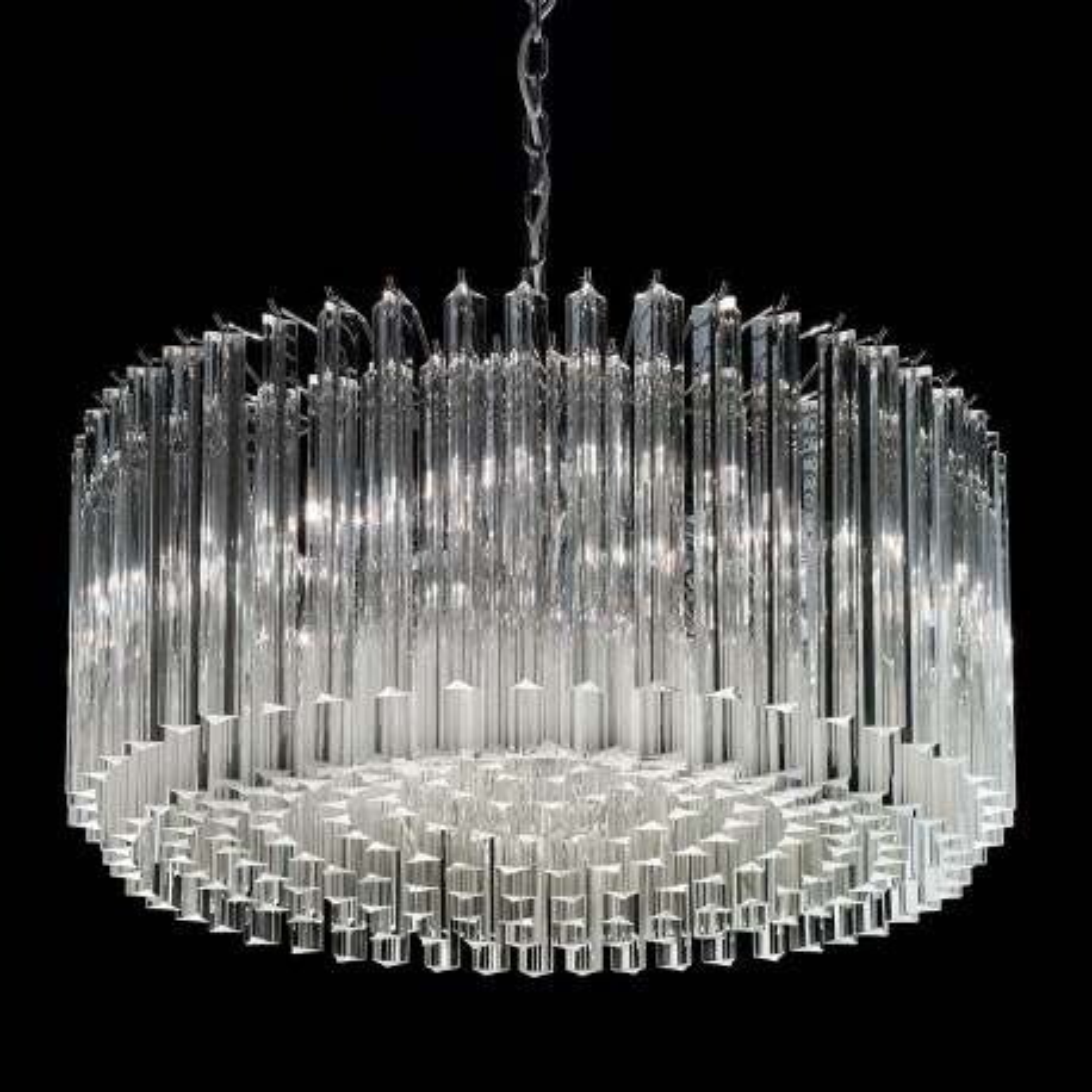 """Esmeralda"" Murano glass chandelier - 8 lights - transparent and chrome"