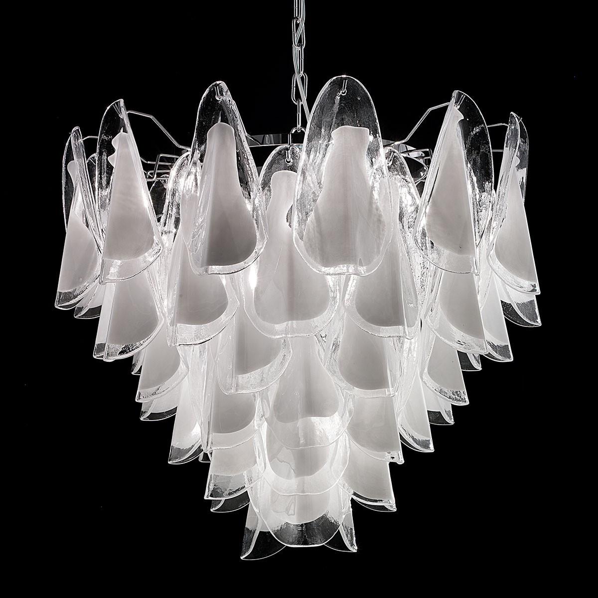 """""""Lauryn"""" lustre en cristal de Murano - 7 lumières - blanc et chrome"""