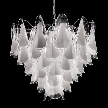 """Lauryn"" Murano glass chandelier - 7 lights - white and chrome"