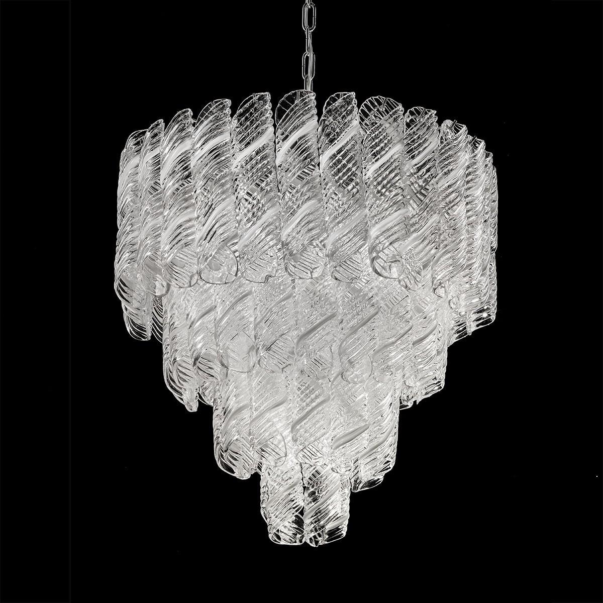 """""""Shirley """" lustre en cristal de Murano - 5 lumières - blanc et chrome"""