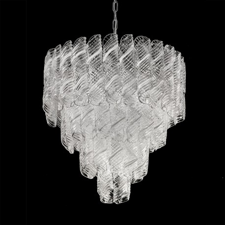 """Shirley "" Murano glass chandelier - 5 lights - white and chrome"