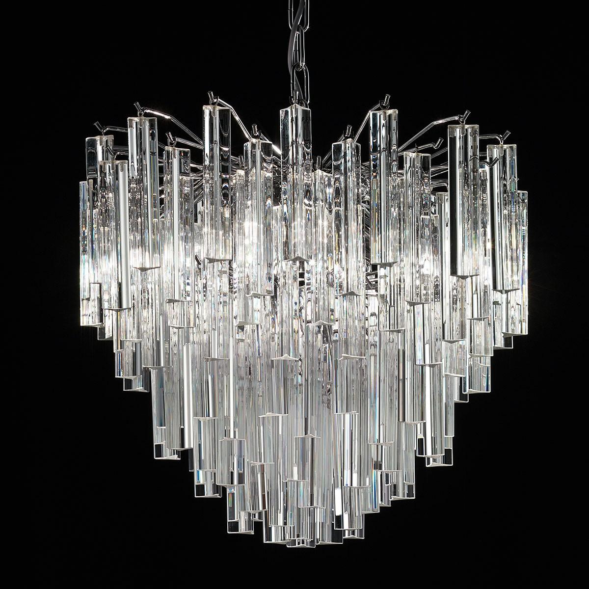 """Joy"" Murano glass chandelier - 4 lights - transparent and chrome"