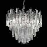 """Joy"" Murano glass chandelier - 4 lights - transparent and chrome"