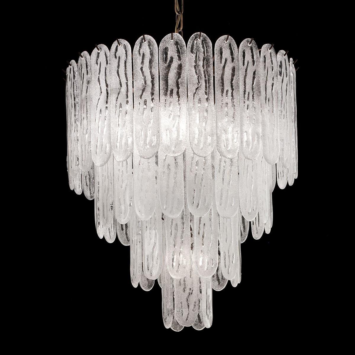 """Ivie"" Murano glass chandelier - 5 lights - white and bronze"