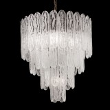 """Ivie"" Murano glass chandelier - 5 lights - white and bronze"