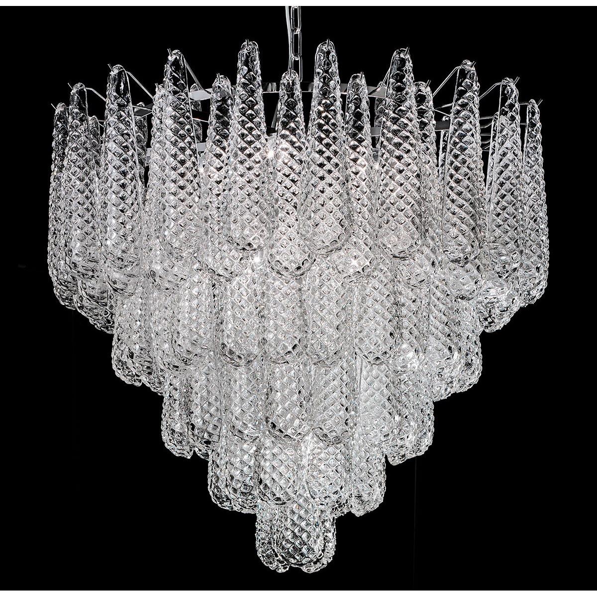"""""""Zoey"""" lustre en cristal de Murano - 10 lumières - transparent et chrome"""