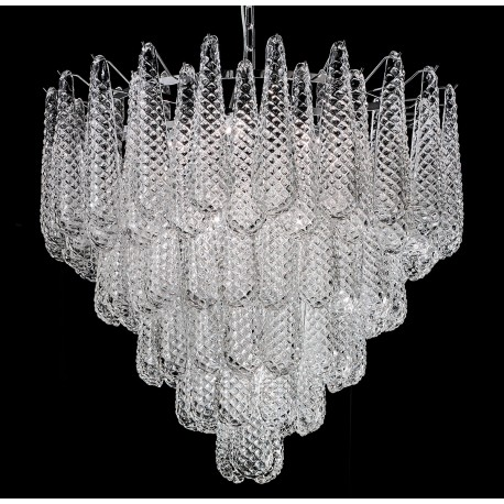 """""""Zoey"""" Murano glass chandelier - 10 lights - transparent and chrome"""