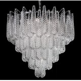 """Zoey"" Murano glass chandelier - 10 lights - transparent and chrome"