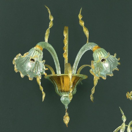 Mori 2 lights Murano sconce - transparent gold color