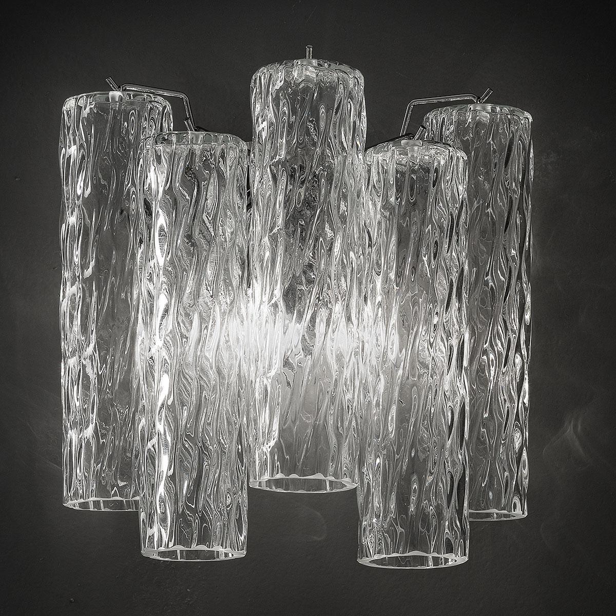 """""""Tronchi"""" applique en verre de Murano - 2 lumières - transparent et chrome"""