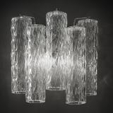 """Tronchi"" Murano glass sconce - 2 lights - transparent and chrome"