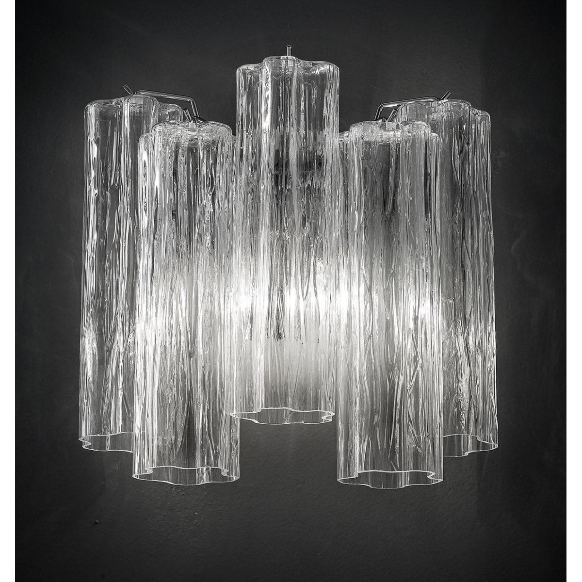 """Holly"" aplique de pared de Murano - 2 luces - transparente y cromo"