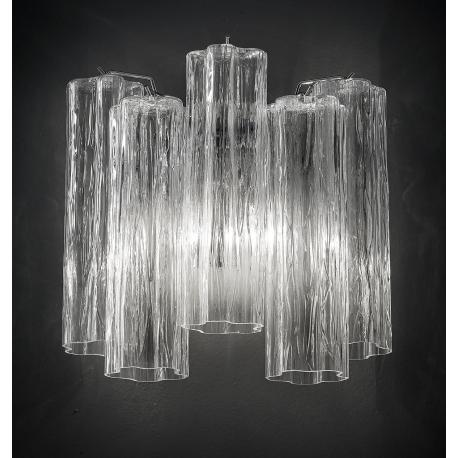 """Holly"" Murano glass sconce - 2 lights - transparent and chrome"