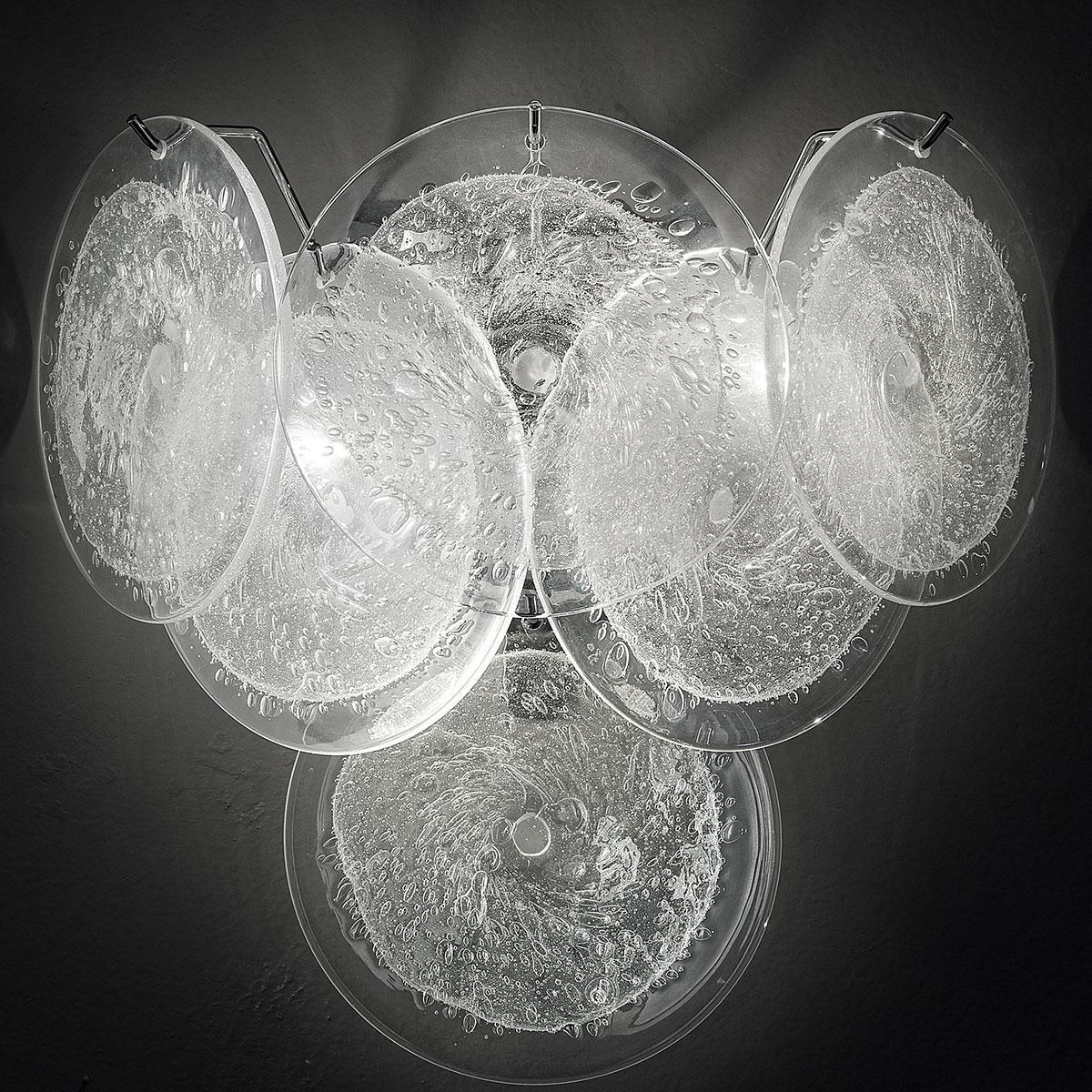 """Dorothy"" Murano glass sconce - 2 lights - transparent and chrome"