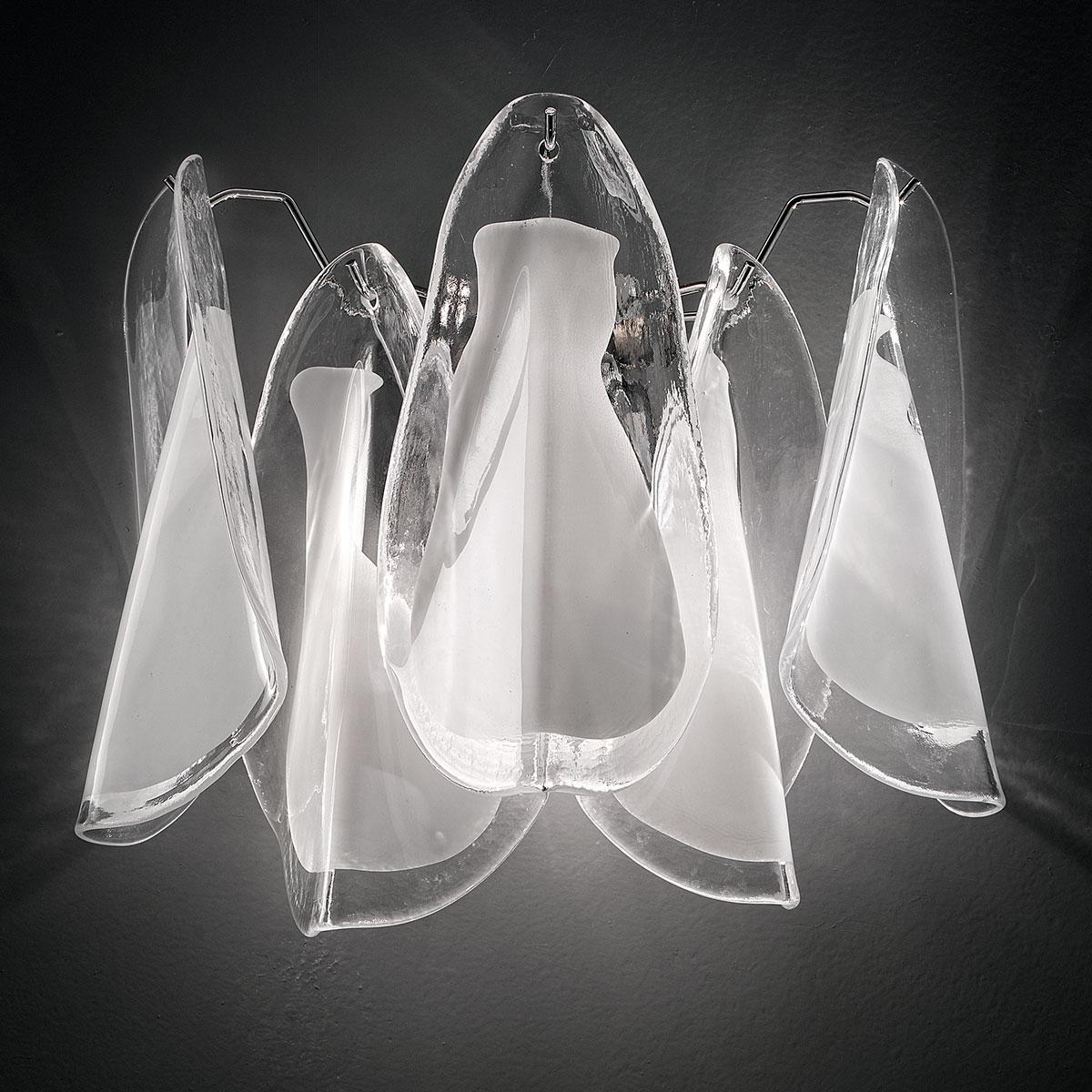 """""""Lauryn"""" applique en verre de Murano - 2 lumières - blanc et chrome"""