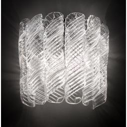 """""""Shirley"""" Murano glass sconce - 2 lights - white and chrome"""