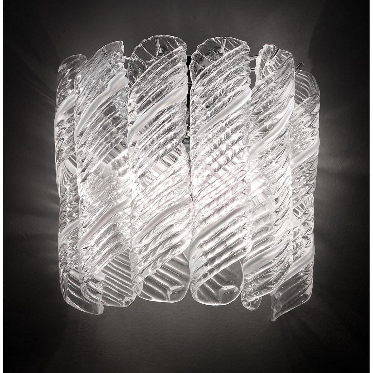 """""""Shirley"""" aplique de pared de Murano - 2 luces - blanco y cromo"""