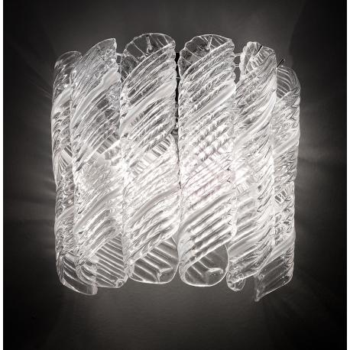 """""""Shirley"""" applique en verre de Murano - 2 lumières - blanc et chrome"""