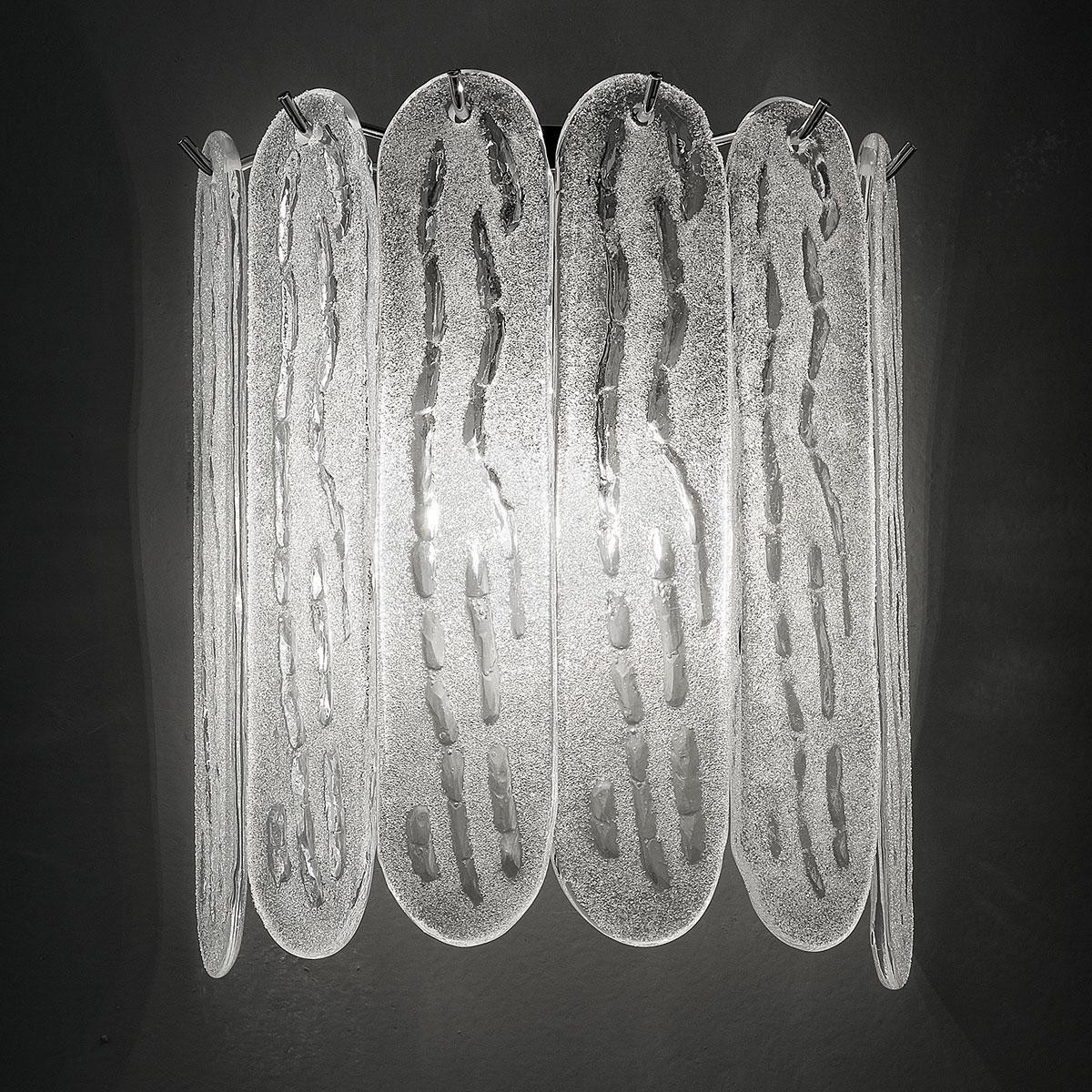 """""""Ivie"""" applique en verre de Murano - 2 lumieres - blanc et bronze"""