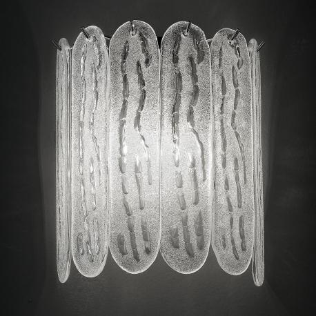 """Ivie"" Murano glass sconce - 2 lights - white and bronze"
