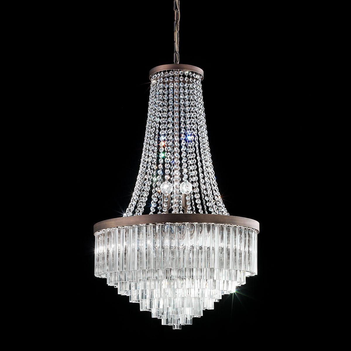 """""""Sophia"""" lustre en cristal de Murano - 8 lumières - transparent et bronze"""