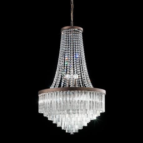 """Sophia"" Murano glass chandelier - 8 lights - transparent and bronze"