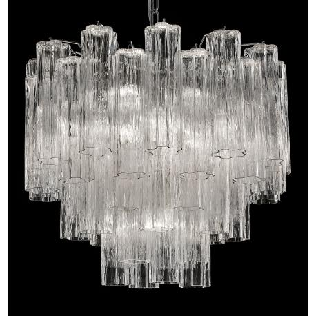 """Holly"" large Murano glass chandelier - 7 lights - transparent and chrome"